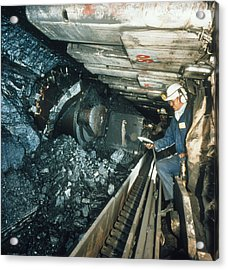 Technician Measures Noise Levels In A Coal Mine Acrylic Print by Crown Copyrighthealth & Safety Laboratory