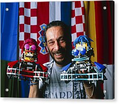 Technician With Lego Footballers At Robocup-98 Acrylic Print by Volker Steger
