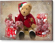 Teddy At Christmas Acrylic Print by Louise Heusinkveld