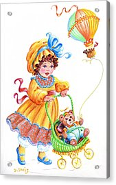Acrylic Print featuring the drawing Teddy Bears And Me In The Children's Parade by Dee Davis
