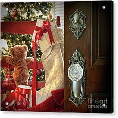 Teddy Waiting For Christmas Time Acrylic Print