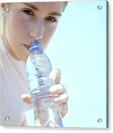 Teenage Girl Drinking Water Acrylic Print by Cristina Pedrazzini