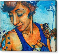 Tegan Tattoos Acrylic Print by Emily Lounsbury