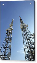 Telecommunications Masts Acrylic Print by Carlos Dominguez