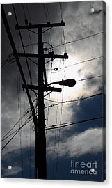 Telephone And Electric Wires And Pole In Abstract Silhouette . 7d13651 Acrylic Print by Wingsdomain Art and Photography