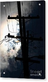Telephone And Electric Wires And Pole In Silhouette . 7d13615 Acrylic Print by Wingsdomain Art and Photography