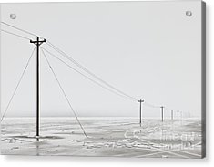 Telephone Poles In Bleak Winter Landscape Acrylic Print by Dave & Les Jacobs