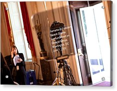 Teleprompter Set Up For President Acrylic Print by Everett