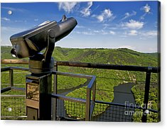 Telescope With View On Meander Of Queuille. Auvergne. France. Europe Acrylic Print by Bernard Jaubert