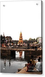 temple and the river in India Acrylic Print by Sumit Mehndiratta