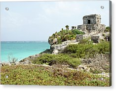 Acrylic Print featuring the photograph Temple Of The Wind God Tulum Mexico by John  Mitchell