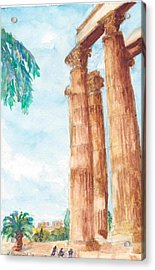 Temple Of Zeus In Athens Greece Acrylic Print by Katherine Shemeld