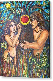 Temptation Of Adam And Eve  Acrylic Print by Rae Chichilnitsky