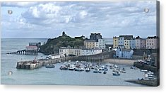 Acrylic Print featuring the photograph Tenby Harbour Pembrokeshire Panorama by Steve Purnell
