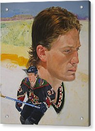 Acrylic Print featuring the painting Teppo Numminen by Cliff Spohn