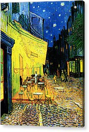 Terrace Of The Cafe On The Place Du Forum In Arles In The Evening Acrylic Print by Pg Reproductions