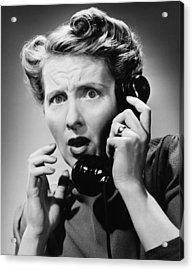 Terrified Woman Talking On Phone, (b&w), Portrait Acrylic Print by George Marks