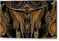 Texas Longhorn Abstract Digital Painting Acrylic Print by Heinz G Mielke