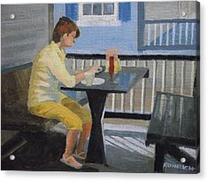 Texting At Breakfast Acrylic Print by Robert Rohrich