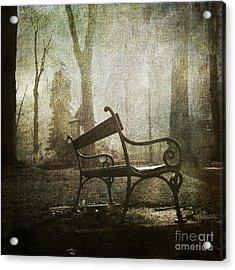 Textured Bench Acrylic Print by Bernard Jaubert