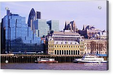Thames And Financial District - London Acrylic Print by John Clark