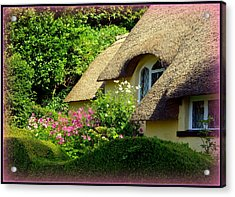 Thatched Cottage With Pink Flowers Acrylic Print by Carla Parris