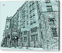 Thayer Hotel In Blue Acrylic Print by Building  Art