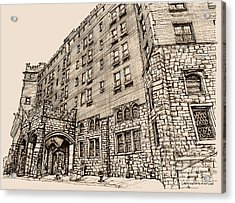 Thayer Hotel In Pink Acrylic Print by Building  Art