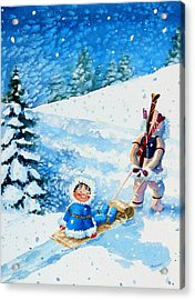 The Aerial Skier - 1 Acrylic Print by Hanne Lore Koehler