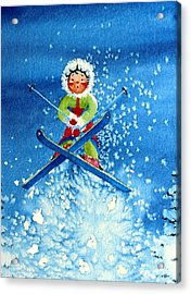 The Aerial Skier - 11 Acrylic Print by Hanne Lore Koehler