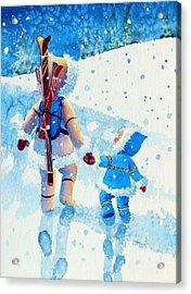 The Aerial Skier - 2 Acrylic Print by Hanne Lore Koehler
