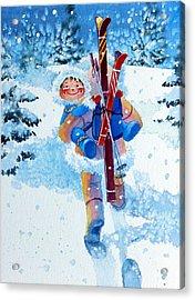 The Aerial Skier - 3 Acrylic Print by Hanne Lore Koehler
