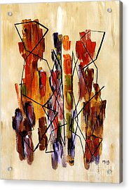 Figurative Abstract African Couple Reproduction On Gallery Wrapped Canvas  Acrylic Print by Marie Christine Belkadi