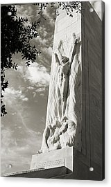 The Alamo Cenotaph In Black And White Acrylic Print