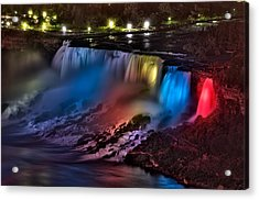 The American Falls Illuminated With Colors Acrylic Print