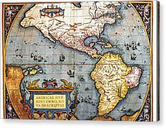 The Americas, 1587 Map By Abraham Ortelius Acrylic Print by Fototeca Storica Nazionale
