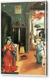 The Annunciation Acrylic Print by Lorenzo Lotto