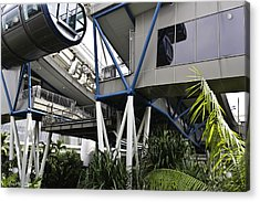 The Area Below The Capsules Of The Singapore Flyer Acrylic Print by Ashish Agarwal