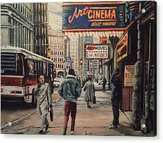Acrylic Print featuring the painting The Art Cinema In The 80s. by James Guentner