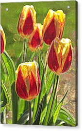Acrylic Print featuring the photograph The Artful Tulips by Nancy De Flon
