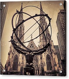 The Atlas & St. Patrick's Cathedral - Acrylic Print