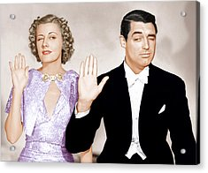 The Awful Truth, From Left Irene Dunne Acrylic Print by Everett