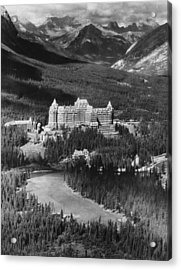 The Banff Springs Hotel In The Bow Acrylic Print by Everett
