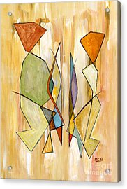 Modern Art Beige Orange Green Abstract Color Blocks Barcelonian Couple Acrylic Print by Marie Christine Belkadi