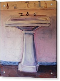 Acrylic Print featuring the painting The Bathroom by Rosemarie Hakim