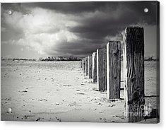 The Beach Monochrome Acrylic Print by Stephen Clarridge