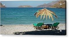 The Beach Umbrella Acrylic Print by Therese Alcorn