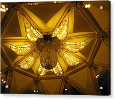 The Beautifully Lit Chandelier On The Ceiling Of The Iskcon Temple In Delhi Acrylic Print by Ashish Agarwal