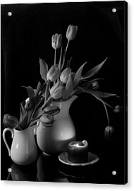 The Beauty Of Tulips In Black And White Acrylic Print by Sherry Hallemeier