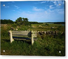 The Bench In Biddeford Acrylic Print by John J Murphy III
